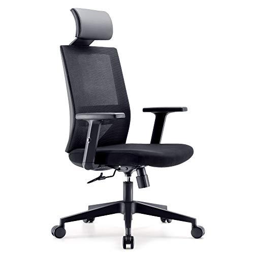 Bürostuhl Drehstuhl Computerstuhl hat Verstellbare PU Kopfstützen und Armlehnen, Ergonomischer Schreibtischstuhl mit Höhenverstellbar und Wippenfunktion, rückenschonend, Schwarz
