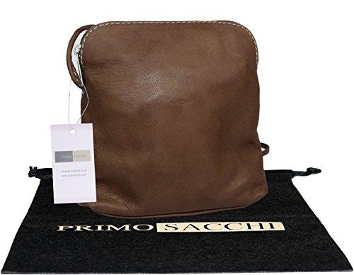 Petit / Micro corps croix ou sac à main fabriqué à la main en cuir souple italien.Comprend étui protecteur marque. Foncé Beige
