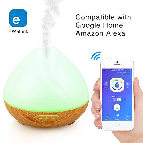 Wi-Fi Humidificador difusor de aceite esencial 400ml-Amazon Alexa echo, Google Home-niebla ajustable, ajuste de tiempo, luz LED de la noche-EWeLink APP