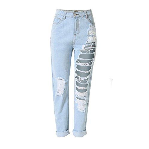 E Support™ Damen High Waist Ripped Hose übertrieben Großen Loch Boyfriend Jeans Zerrissen Jeanshose - Ripped Boyfriend Jeans