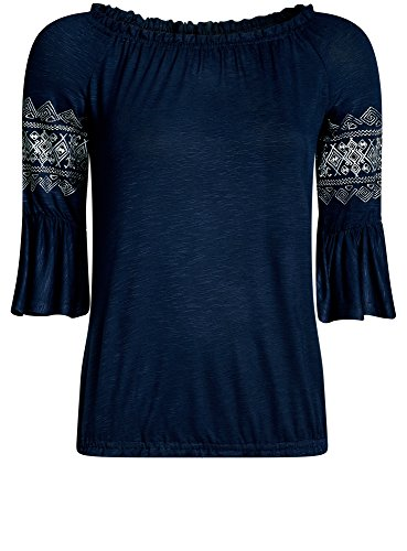 oodji Ultra Damen Jersey-Bluse mit Bestickten Ärmeln Blau (7900N)