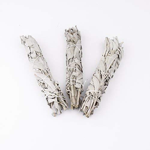Sage Smudge Stick salbei Weiß Bundle Haus reinigend, Smudging & Blessing: Sage Bundle New Age Chakra Spiritual Weiß Kalifornien Sourced Authentic Native (Weiße, Packung mit 3 (4-5 Zoll 10-13 cm))