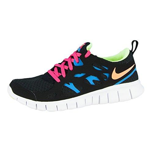 Nike Laufschuhe Free Run 2 (GS) Damen black-atomic orange-volt ice-vivid blue, 35,5, schwarz