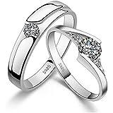 خاتمان للرجال والنساء هدية الزواج مطلي بالماس براقة مصنع من ال925الفضة cr1مقاس خاتم الرجل:10 مقاس خاتم النساء:8