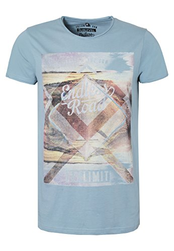 SUBLEVEL Herren Print-Shirt - Endless Road | Bequemes T-Shirt aus hochwertigem Single-Jersey Material middle-blue