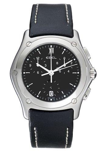 Ebel - 9251F41-5335F06 - Classic Wave - Montre Homme - Quartz Analogique - Cadran Noir - Bracelet Cuir Noir