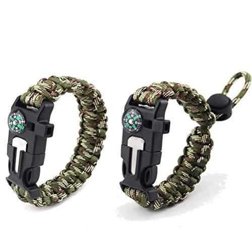 MUCHEN-SHOP Paracord Survival Armband,2er Pack Flechten Überlebens Armbänder für Camping Bushcraft Outdoor Ausrüstung mit Kompass Signalpfeife Feuerstein Outdoor Messer