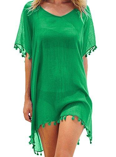 Las mujeres de gasa borla bañador traje de baño Pareo praia Ropa de baño vestido de playa Tamaño libre Verde