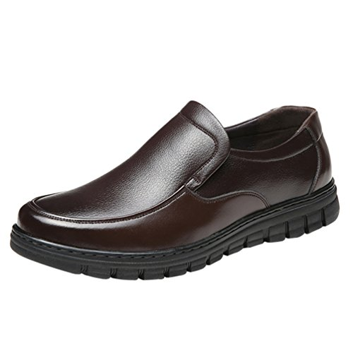 Yiiquan uomo casuale affari basso punta tonda scarpe mocassini pu pelle comode loafers traspirante scarpe marrone(42)