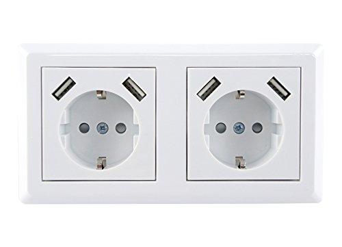 Skaize™ UQ699 Schuko Doppelsteckdose mit USB Ladegerät 4 fach - USB Unterputz Mehrfachsteckdose