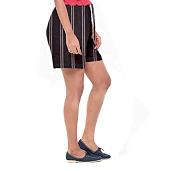 EASY 2 WEAR ® Women Black Striped Shorts - (S to 4XL) - Elasticated/Drawstring with Front Pockets.