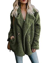 Cayuan Donna Cappotti Giacca en Pelliccia Sintetica Addensare Caldo  Cappotto Soffice Soprabito Cardigan con Tasche Inverno 510970a44086