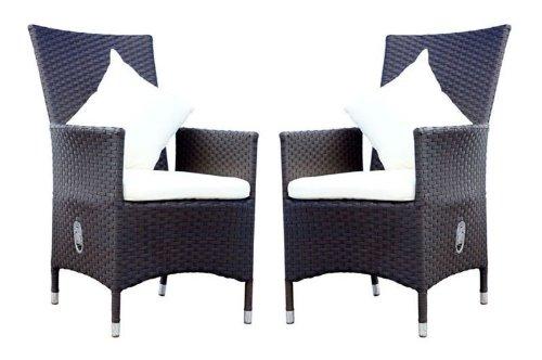 OUTFLEXX 2er-Set Sessel aus hochwertigem Polyrattan in braun, ca. 66,5 x 70 x 110 cm, inkl. weichen Kissen/Polster, Gartenstuhl mit verstellbarer Lehne, zeitlos, vielseitig kombinierbar, wetterfest