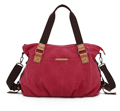KISS GOLD Retro abwaschbare Damen Schultertasche Canvas Totes Hobo Bag, Rot (Flap Bag Hobo)