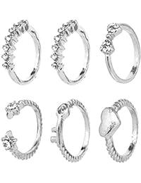 2livefor anillos Set para mujer anillos Ethno One Size con piedras brillantes lazo Llave Corazón de Midi Anillos apilables boho