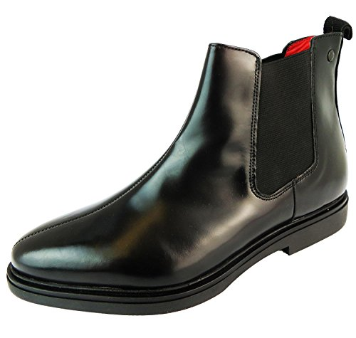 Base London Mens Hammer Leather Shoes Schwarz