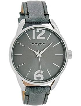 Oozoo Damen-/ Kinderuhr mit Lederband 38 MM Graublau/Graublau JR282