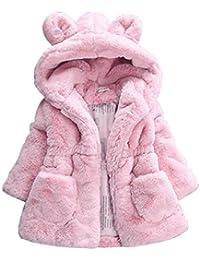 LaoZanA Niña Abrigo con Capucha Chaqueta Capa Gruesa Ropa Caliente Piel Sintética Parka Pink 110