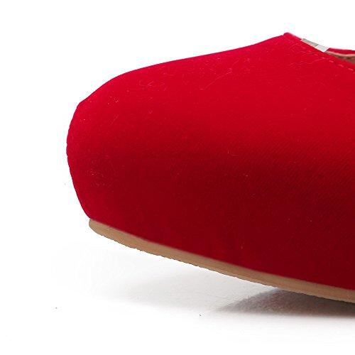 VogueZone009 Donna Fibbia Pelle Di Mucca Punta Tonda Punta Chiusa Tacco Alto Chiodato Ballerine Rosso