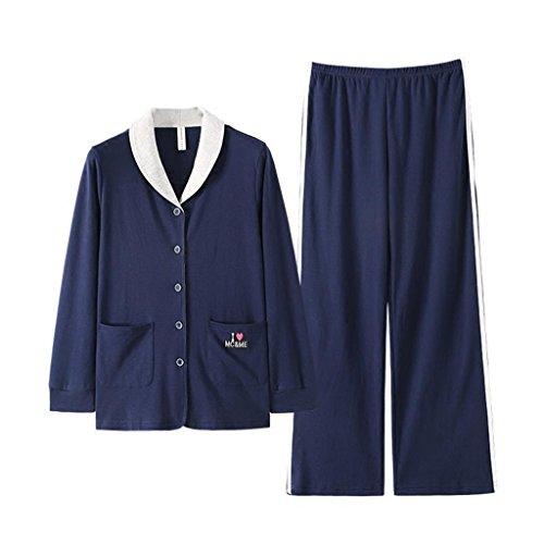 ALUK- Autunno e inverno - pigiama casa servizio di abbigliamento in cotone cartone animato per la casa ( Colore : Blu , dimensioni : XXL ) Blu