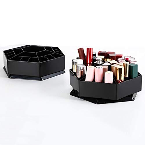 SJY 25 Plaid Aufbewahrungsbox, drehbare Desktop Lippenstift Lagerregal, Schminktisch Großraum-Schmuckschatulle, verwendet für Halskette Ring Ohrringe Lippenstift Parfüm, Schwarz