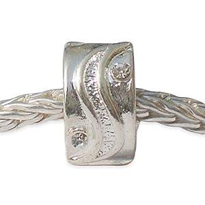 Andante-Stones Silber Bead Clip Stopper mit weißen Zirkonia – Element Kugel für European Beads + Organzasäckchen