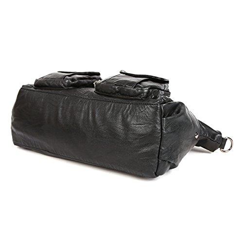 21KBARCELONA  Top con zip multi tasche Borse Lavato Borse Borse a tracolla in pelle XS160735 Nero