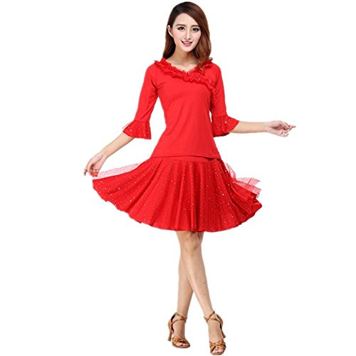 Dance Step Kostüme (GBDSD Square Dance Kleidung Hülsenhemd mit Pailletten Rock große Weihnachtstheaterkostüm ,)