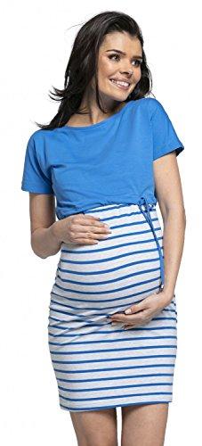 HAPPY MAMA Women's Nursing Two Piece Dress Separate Top Pregnancy. 127p (Blue, UK 12, L)