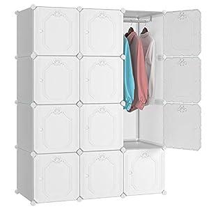 Homfa Kleiderschrank mit Kleiderstange DIY weißer Kombischrank Regalsystem Kunststoff 106x46x142.5cm