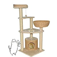 XWDQ Multi-Layer Large Cat Tree Handrail Apartment Hand-Woven Cat Litter Platform Design Comfortable Spacious 3 Pillars and Toys 130 cm High Beige