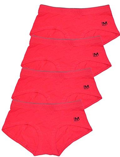 LisaModa 4er Pack sportliche Pantys Stretch Baumwolle Damen Hipster Rot