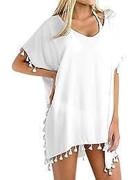 AiJump Femme Cache-Maillots Mousseline Loose Boho Floral Imprimé Eté Pareo Bikini Cover Up Tunique avec Gland Sarong pour Maillot de Bain