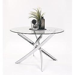 Mesa de comedor de 110 cm. redonda DALILA tapa de cristal y patas metal cromado