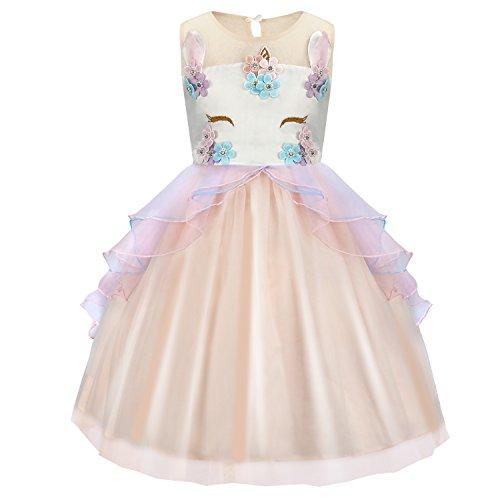 (discoball Einhorn Mädchen Kleid Unicorn Blumen Tutu Rock mit Rüschen Gaze für Prinzessin Kostüm Cosplay Party Hochzeit Geburtstag Halloween Karneval (Rosa, 7-8 Jahre))