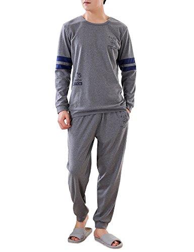 Aibrou Herren Schlafanzug Pyjama Zweiteiliger Baumwolle Nachtwäsche Set Lang Dunkelgrau S
