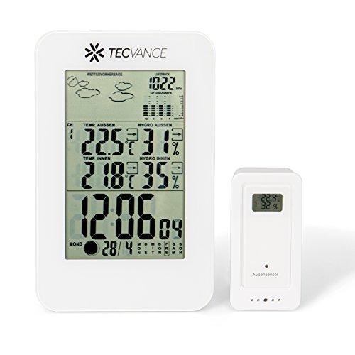 Tecvance Wetterstation mit Außensensor - Funkwetterstation mit Farbdisplay - Innen- und Außentemperaturanzeige - inkl. Batterie - Wetterstation funk in weiß