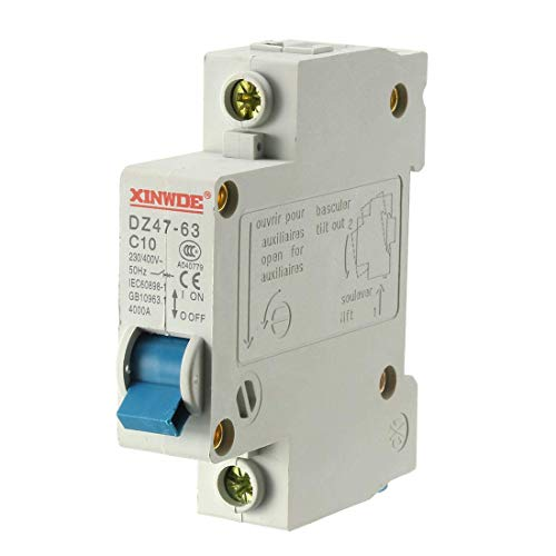 Din Mount Circuit Breaker (ZCHXD 1 Pole 10A 230/400V Low-voltage Miniature Circuit Breaker Din Rail Mount DZ47-63 C10)