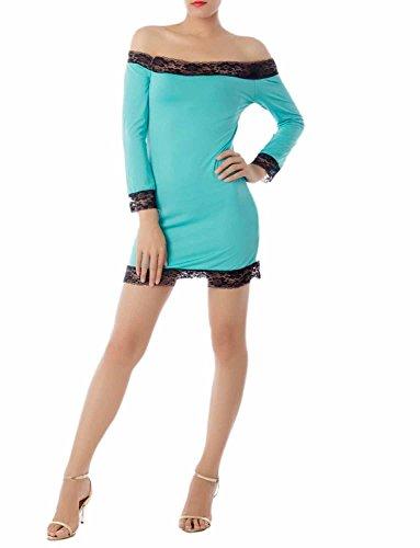 iB-iP Damen Bare Schulter Lace Trim Bodycon Ärmel Mini Chemise Dessous, größe: M, Sea (Costume Cher Paris Pas)