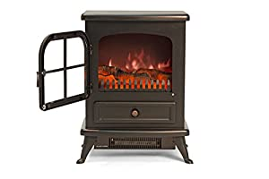 Igenix IG9430 Oakmen Flame Effect Stove Heater, 950 W - Black