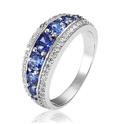 XCWXM Ringe Elegante 925 Sterling Silber Verlobungsringe AAA Tansanit Saphir Stones Ringe Für Frau Schmuck @ 9 (Tansanit-ring 9 Größe)