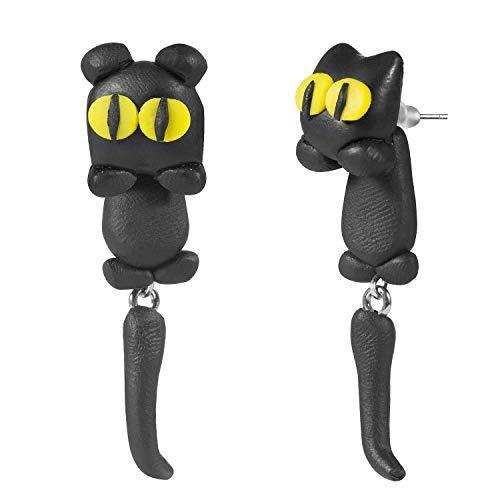 Comius Handgemachter Ohrringe, Katze Frauen-Bolzen-Ohrringschmucksachen, Schmuck Tiere Fimo Ohrstecker Ton Weiche Keramik Ohrringe (Cat)