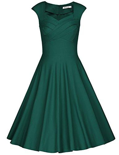 MUXXN Damen Retro 1950er Kleider Swing Kleid Vintage Rockabilly Kleid Partykleid Cocktailkleid(S, Deep Green) (Seide Kleid Frauen)