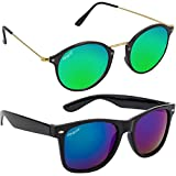 Elegante Combo of UV Protected Gorgeous Mirrored Blue Round & Wayfarer Sunglasses for Men and Women
