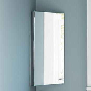 Stainless Steel Corner Bathroom Mirror Cabinet Modern Storage Unit