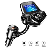 FM Transmitter Auto Bluetooth, AINOPE Quick Charge 3.0 Bluetooth Transmitter Für Auto Aktualisierung V4.2 FM Transmitter mit 1,44 Großbild für U Disk/TF-Karte/Aux