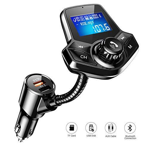 AINOPE FM Transmitter Auto Bluetooth, Auto Radio Transmitter QC 3.0 Bluetooth Transmitter Für Auto 2 USB Ladegerät mit 1,44 Großbild für U Disk/TF-Karte/AUX-Eingang/EQ Modes (Fm Audio Transmitter Wireless)