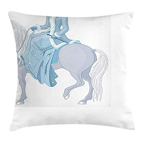Princess Throw Pillow Cushion Cover, Young Princess Riding a Magic Horse in Winter Nobility Royal Family, Decorative Square Accent Pillow Case, 18 X 18 inches, Pale Blue Bluegrey White (Monster Halloween Princess Truck)