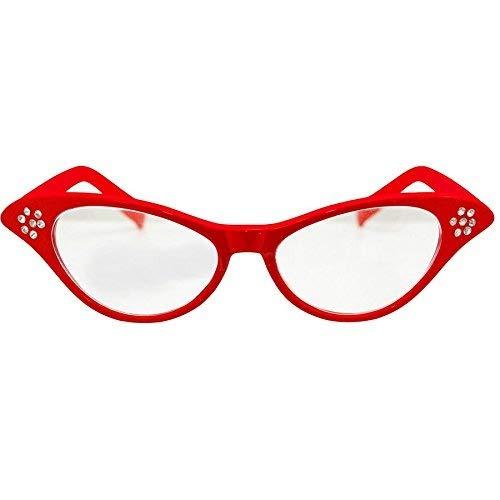 1950's Rock 'n' Roll Fett Stil Fancy Kleid Party Brille-Rot Schwarz rot
