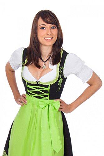 Bayerische Trachten-Dirndl Kleid 3-teilig mit Schürze + Bluse Farbe -Schwarz,38 (Schwarz Und Weiß überprüft Kleid)